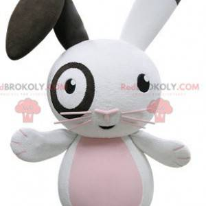Veldig morsom rosa og svart hvit kaninmaskot - Redbrokoly.com