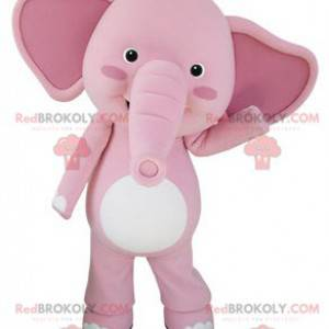 Riesiges Maskottchen des rosa und weißen Elefanten -