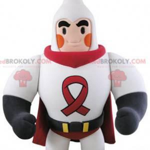 Muskularna maskotka superbohatera ubrana w biało-czerwoną -