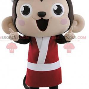 Brown and pink monkey mascot dressed in kimono - Redbrokoly.com