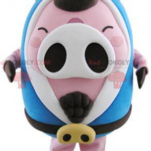 Plump pink and white pig mascot with a blue bathrobe -
