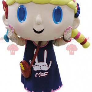 Maskottchen blondes Mädchen mit blauen Augen - Redbrokoly.com