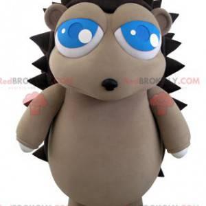 Mascote ouriço cinza e marrom com lindos olhos azuis -