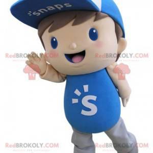 Kindermaskottchen gekleidet in Blau mit einer Kappe -