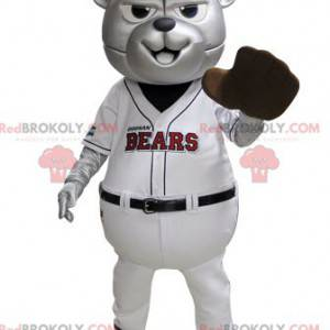 Graues Bärenmaskottchen im blauen und weißen Baseball-Outfit -