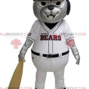 Gray bear mascot in blue and white baseball outfit -