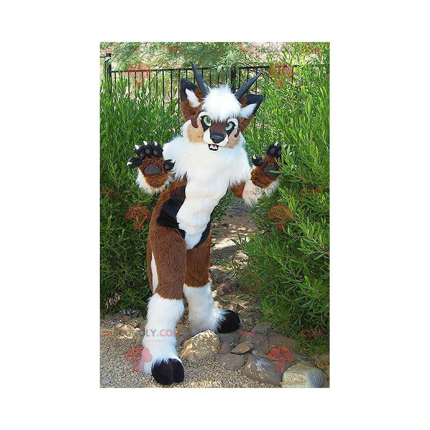 Brown dog mascot white and black with horns - Redbrokoly.com