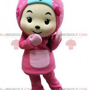 Dětský maskot oblečený celý v růžové barvě s kapucí -