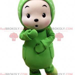 Barnemaskott forkledd som en grønn and - Redbrokoly.com