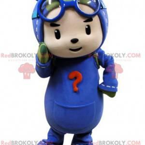 Børnemaskot forklædt som faldskærmsudspringer. Pilot maskot -