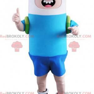 Chłopiec maskotka ubrana w niebieski i biały - Redbrokoly.com