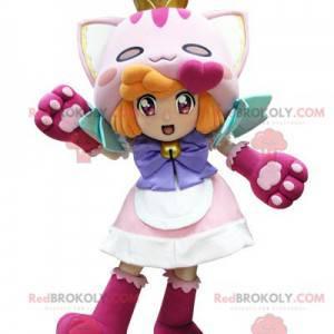 Rusovlasá dívka maskot oblečený jako kočka - Redbrokoly.com
