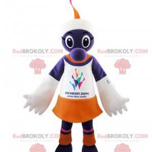 White and orange purple creature mascot - Redbrokoly.com