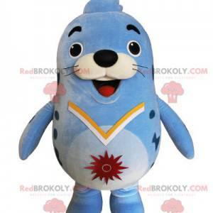 Mascota de foca azul regordeta y divertida - Redbrokoly.com