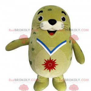 Mascota de león marino verde regordeta y divertida -