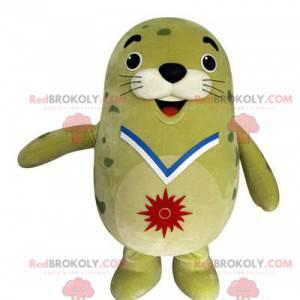 Mascotte verde grassoccia e divertente del leone di mare -
