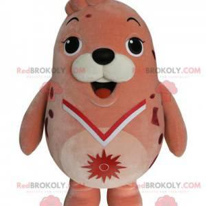 Mascota de león marino rosa regordeta y divertida -