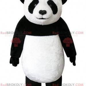 Velmi krásný a realistický černobílý panda maskot -