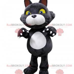 Grå og hvit kattemaskot med gule øyne - Redbrokoly.com