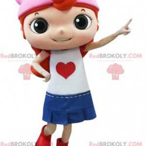 Rudowłosa dziewczyna maskotka ubrana w spódnicę - Redbrokoly.com