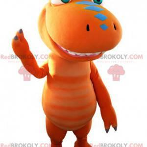 Obří oranžový a modrý dinosaurus maskot - Redbrokoly.com