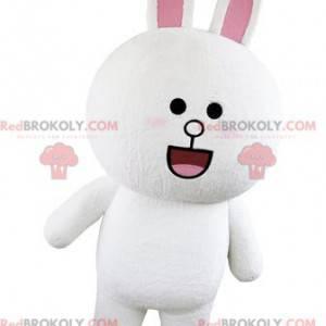 Bílý a růžový králík maskot buclatý a kulatý vypadající