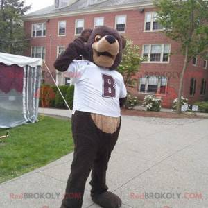 Brun bjørnemaskot med hvit t-skjorte - Redbrokoly.com
