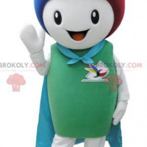 Maskot bílý sněhulák s pláštěm a barevnými vlasy -