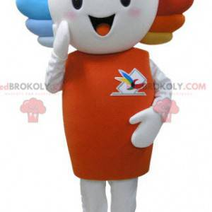 Very smiling white snowman mascot with colored hair -