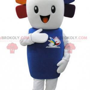 Velmi usměvavý maskot bílého sněhuláka s barevnými vlasy -