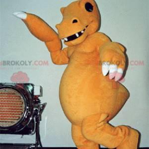 Velmi realistický a děsivý oranžový a bílý dinosaur maskot -
