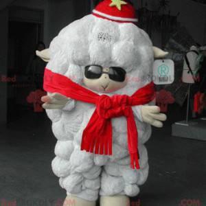 Velký bílý ovce maskot se slunečními brýlemi - Redbrokoly.com
