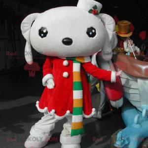 Hvit kanin maskot kledd i en rød julekjole - Redbrokoly.com
