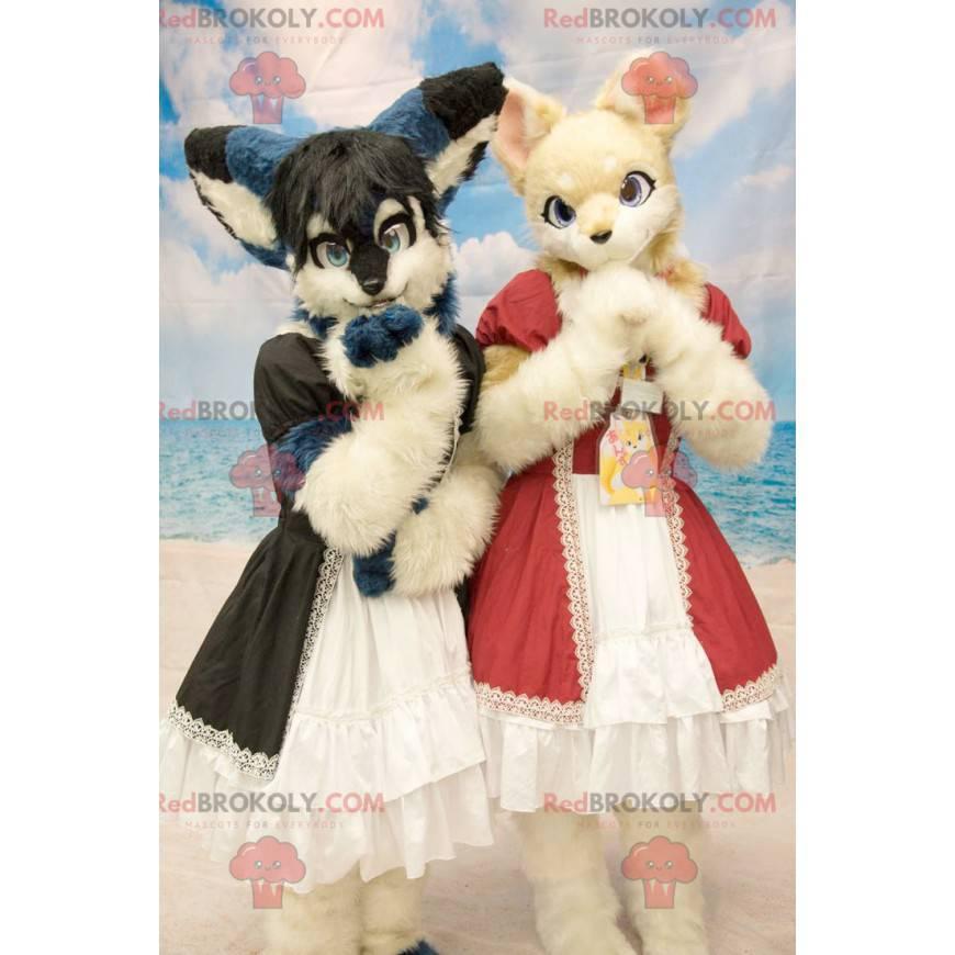 2 pelzige Katzenmaskottchen im Kleid - Redbrokoly.com