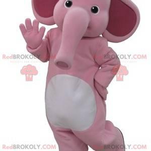 Růžový a bílý slon maskot. Slon maskot - Redbrokoly.com