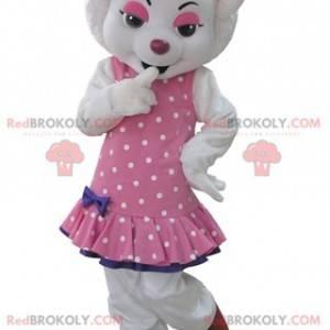 Maskot bílý vlk oblečený v růžových šatech s puntíky -