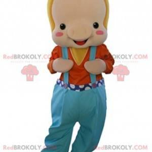 Beige Schweinemaskottchen in Overalls gekleidet - Redbrokoly.com