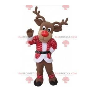 Julreinmaskot med rødt og hvitt antrekk - Redbrokoly.com