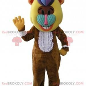 Maskot opice hnědý pavián s barevnou hlavou - Redbrokoly.com