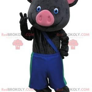 Černé a růžové prase maskot s modré kalhoty - Redbrokoly.com