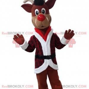 Weihnachts-Rentier-Maskottchen im roten und weißen Outfit -