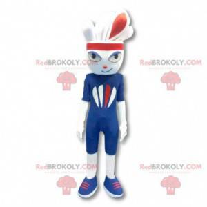 White sports rabbit mascot dressed in blue - Redbrokoly.com