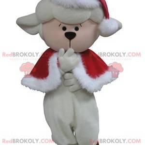 Weißes Schafmaskottchen im Weihnachtsoutfit - Redbrokoly.com