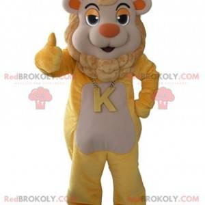 Žlutý a béžový maskot lva s korunou na hlavě - Redbrokoly.com
