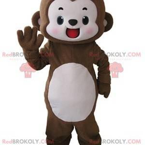 Velmi usměvavý hnědý a bílý opičí maskot - Redbrokoly.com