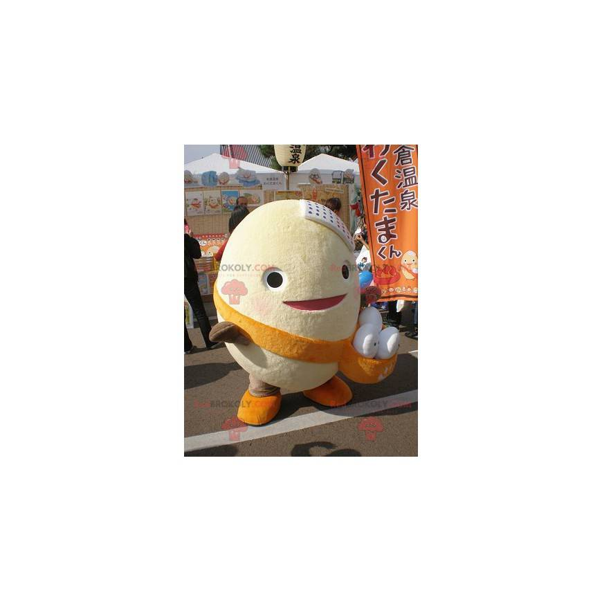 Giant egg mascot with a pouch filled with eggs - Redbrokoly.com
