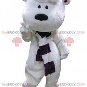 Big white teddy bear mascot with a scarf and a hat -