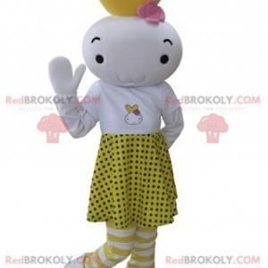 Weißes und gelbes Schneemannmaskottchen gekleidet in einem