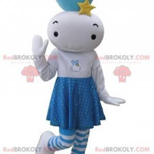 Obří panenka modrý a bílý sněhulák maskot - Redbrokoly.com