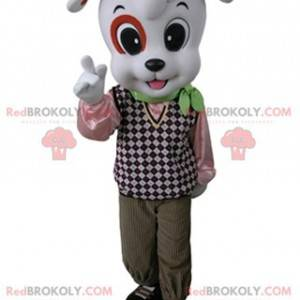 White and orange dog mascot dressed in an elegant outfit -
